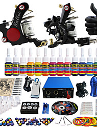 Solong Tattoo Complete Tattoo Kit 2 Pro Machine Guns 14 Inks Power Supply Needle Grips