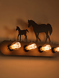 American Village Pastoral LOFT Style Bedroom Aisle Iron Retro Wild Horse Wall Lamps Free Shipping