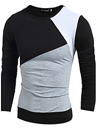 Men's Solid Casual T-Shirt,Cotton Long Sleeve-Black / White