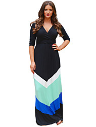 Women's Beach Plus Size Dress,Striped / Print Deep V Maxi ¾ Sleeve Multi-color Fall