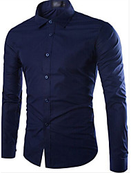 First brand Men's Shirt Collar Casual Shirts , Cotton Blend Long Sleeve Casual Pocket Fall