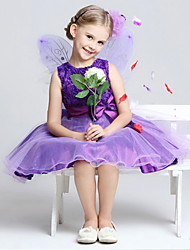 A-line Tea-length Flower Girl Dress - Cotton / Tulle / Polyester Sleeveless