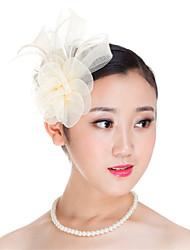 Women  Polyester Feather Flowers Fascinators Wedding Headpiece Beige/Black/Dark blue