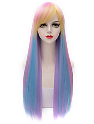 70cm Pretty Harajuku Hairstyle Mixed Color Pink/Blonde/Blue Long Straight Side Bang  Lolita Purecas Synthetic Women Wig