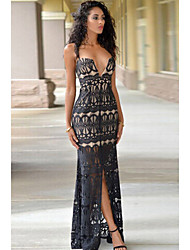 Women's Lace Nude Illusion Front Slit Evening Dress
