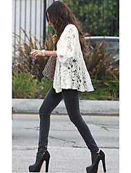 Women's Lace White/Black Tops & Blouses , Casual/Lace Round ¾ Sleeve