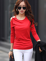 Women's Round Neck Long Sleeve Solid Strapless Red/White/Black Blouse
