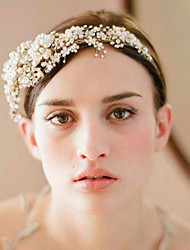 Europe And The United States The Bride Handmade High-end Crown Head Band Golden Crystal Diamond Pearl Headdress Flower