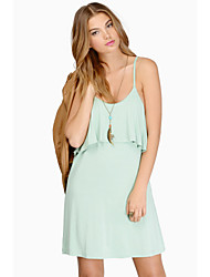 woman's green condole belt falbala dress