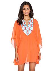Women's Orange Embroidered Caftan