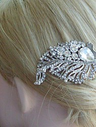 Wedding Hair Comb Silver-tone Clear Rhinestone Crystal Leaf Hair Comb Bridal Hair Comb Wedding Headpiece