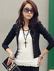 YUYI Women's Solid Color White / Black Coats & Jackets , Casual Stand Long Sleeve