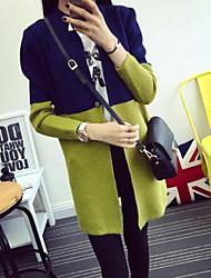 Women's Striped Blue / Pink / Green Cardigan , Casual Long Sleeve