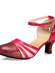 3 Colors Sequin Blue Red Black Gold Silver Women Ballroom Tango Salsa Latin Dance Shoes / Cheap Closed Toe Salsa Shoes