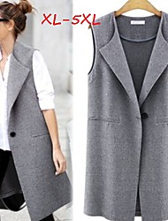 Women's Solid Black/Gray Plus Size  Vests , Casual Sleeveless