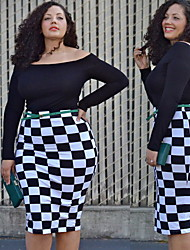 Women's Plaid Black Plus Size Dresses , Sexy/Party/Work Round Long Sleeve