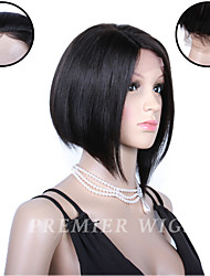 8A Premierwigs 8'' European Virgin Bob Straight Silk Top Lace Front Human Hair Wigs With Baby Hair For Black Women