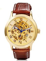 SH 9269 montre mécanique automatique unisexe avec cadran en or en alliage& simili cuir marron bracelet en m.