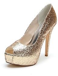 Women's Spring / Summer / Fall / Winter Heels / Peep Toe / Platform Satin Wedding / Party & Evening Stiletto Heel Black / Silver / Gold
