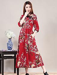 Mulheres Vestido Médio Manga Longa Colarinho Chinês Botão Mulheres