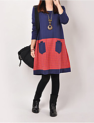 Large size   Women's Character Blue Dresses , Casual Round Long Sleeve