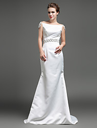 Trumpet/Mermaid Wedding Dress - Ivory Sweep/Brush Train Bateau Satin