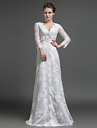 Sheath / Column Mother of the Bride Dress - Elegant Floor-length Long Sleeve Lace with Crystal Detailing