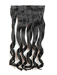 24 Inch Black Long Curly 5 Clips In Hair Extensions Heat Resistant Synthetic