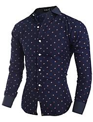 Men's Print Casual Shirt,Cotton Long Sleeve Blue