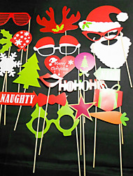 27 PCS Card Paper Photo Booth Props Party Fun Favor (Including Sticks and Glue) for Christmas