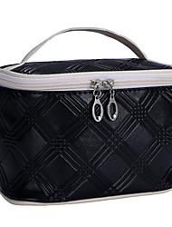 Women Cosmetic Bag Nylon All Seasons Outdoor Barrel Zipper Black Silver Ruby Green Blue