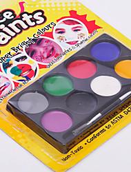 arte corporal rosto&paleta de pintura corporal composição de Halloween (8 cores)