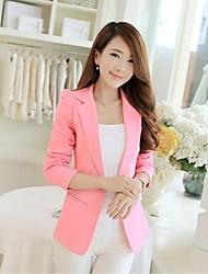 Women's Solid Pink / White / Black Blazer , Casual / Work Shirt Collar Long Sleeve