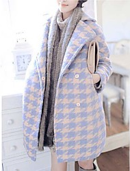 Women's Geometric Blue Trench Coat