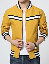 Men's Long Sleeve Jacket , Cotton Blend Casual / Sport Striped / Pure