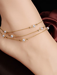 Women's Simple Multilayer Copper Beads Pearl Chain Anklets
