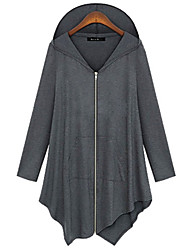 Women's Solid Black / Gray Cardigan , Casual Long Sleeve Plus size
