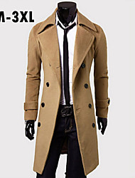Men's Plus Size Black/Camel/Gray Casual/Work Pure Long Sleeve Long Coat (Cotton Blends)