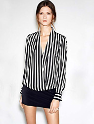 LYOU Women's Striped Multi-color Casual Shirts , Vintage/Sexy/Bodycon/Party/Work V-Neck Long Sleeve