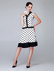 Women's Vintage V-Neck Polka Dot Sleeveless Knee-length Dress