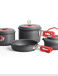 3-4 People 7-Piece Camping Cookset 2.2L Pot,1.2L Pot,7.5In Pan,2pc Pot Cover
