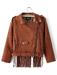 Women's Solid Brown Jackets Casual Long Sleeve