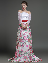 Formal Evening Dress - Print Sheath/Column Off-the-shoulder Sweep/Brush Train Chiffon