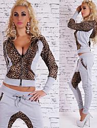 Xin Ya Li   Women's Leopard Black / Gray Suits , Casual V-Neck Long Sleeve