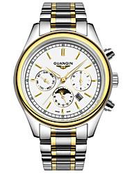 GUANQIN® Fashion Men Japanese Quartz Waterproof Sapphire Calendar Luminous Moon Phase Steel 38mm Sport Wrist Watch Cool Watch With Watch Box