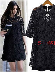 Women's Lace Black Dresses , Sexy/Lace Stand ½ Length Sleeve