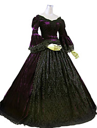 One-Piece Gothic Lolita Steampunk®/Victorian Cosplay Lolita Dress Purple Solid Long Sleeve Long Length Dress For Women Marie Ball Gown Period Dress