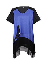 Damen Patchwork Einfach Lässig/Alltäglich T-shirt,V-Ausschnitt Sommer Kurzarm Blau / Rot / Grau Baumwolle / Polyester Mittel