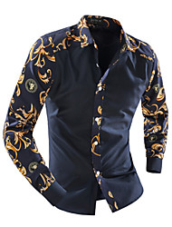Men's Print Casual / Work Shirt,Cotton Long Sleeve Blue