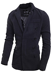 Uonuode Man'S Korean Men Cultivating Unique Fashion Boutique Dark Button Front Coat